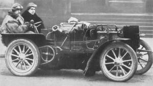 1901 bugatti 4-cyl 6.8-litre - ettore bugatti in fur coat