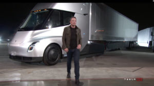 Elon Musk unveiled Tesla's new electric semi truck at the design studio in Hawthorne. Thursday evening in an invite only event. Credit Tesla