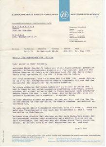 Писмо от фирмата до Димитър Соколов от 1974г. Факсимилето е осигурено със съдействието на г-н Тодор Длеяков