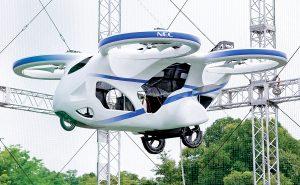 """На изложение е представена """"летяща кола"""" от японския електронен гигант NEC Corp."""