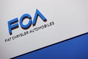 Логото на FCA (Fiat Chrysler Automobiles) на press day на 2019 Geneva International Motor Show - сн. AFP