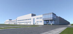 Рендъринг на Volkswagen Anhui MEB завод и технически център