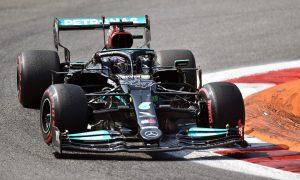 Mercedes F1 Хамилтън Луис Хамилтън по време на тренировка за италианската F1 надпревара.
